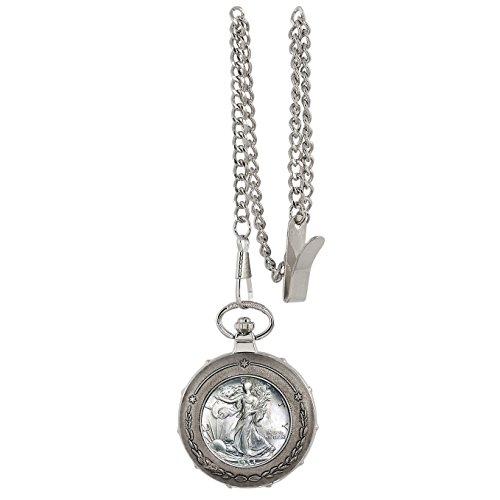 Silver Walking Liberty Half Dollar Silvertone Train Pocket Watch