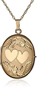 """Yellow 14k Gold-Filled Hand Engraved Oval Four-Picture Family Locket Necklace, 20"""""""