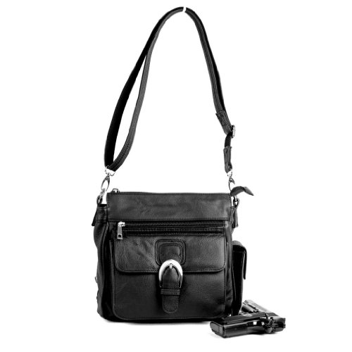 Concealed Carry Purse - Leather Locking CCW Gun Bag - Left and Right Hand Draw