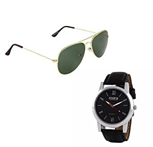 Oura Analog Round Formal Wear Watch For Men With Avitor Sunglasses