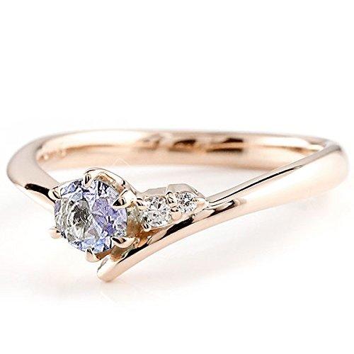[アトラス] Atrus リング エンゲージリング ピンクゴールド 10金 指輪 タンザナイト ダイヤモンド 一粒 大粒 天然石 誕生石のエンゲージリング (12月の誕生石タンザナイト) ファッションリング 7号