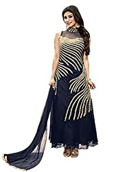 Styles Closet Blue Georgette Embroidered Gown With Dupatta