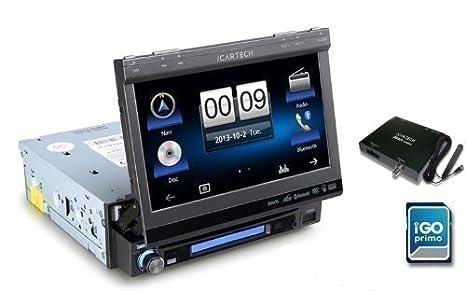 Aurora G7 - Autoradio Navigation 1DIN TFT avec Boite pour DAB+ Digitalradio -Le multi-talentueux - Système de navigation multimédia avec boîte à outils d'installation GRATUIT - DVD MP3 USB / SD -cartes de navigation iGo Primo +