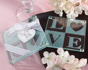 """Kate Aspen """"Clearly in Love"""" Glass Coasters, Set of 2"""
