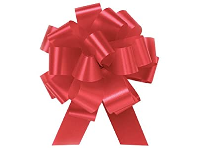 """IMPERIAL RED Pull String Bows - 5.5"""" Wide 20 Loops (1 & 7/8"""" ribbon) Set of 10"""