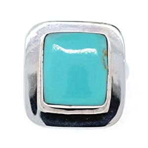 Sterling Silver Square Turquoise Inlay Ring, Size 7