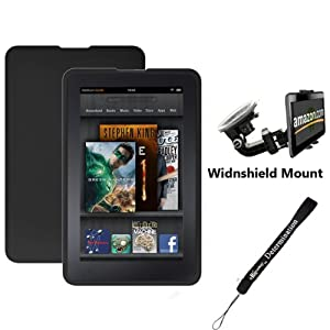 "Black Amazon Kindle Fire Tablet Silicone Skin + Includes a Compatible Universal Windshield Mount for Kindle Fire + Includes a eBigValue 4"" Determination Hand Strap"
