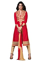 Women's Red & Beige Embroidered Cotton Semi Stitched Salwar Suit