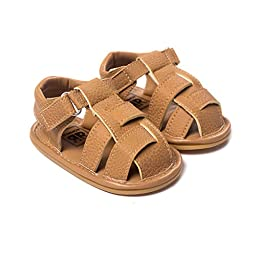 LIVEBOX Infant Baby Boys and Girls Moccasins Premium Soft Rubber Sole Anti-Slip Summer Prewalker Toddler Sandals(L: 12~18 months,Camel)