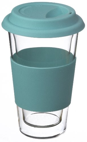 Grosche Glassen Double Wall Glass Insulated Travel Coffee Mug, Blue, 350 Ml (12 Fl Oz)