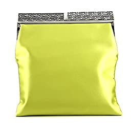BCBG Milena Satin Foldover Clutch, Bright Citron, One Size