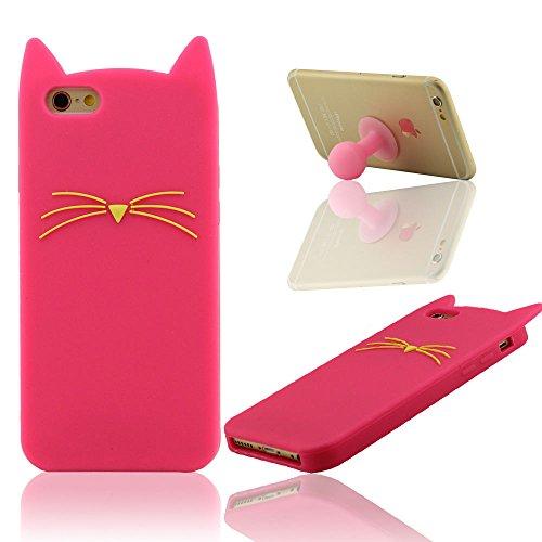 """Schutzhülle iPhone 6 Hülle, iPhone 6S Hülle, Case für iPhone 6 / iPhone 6S (4.7"""") + Silikon Haltewinkel, Prämie Silikon Tasche für iPhone 6, Niedlich Katze Aussehen"""
