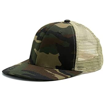 Magic Apparel 6 Panel Mesh Trucker Snapback Baseball Cap (One Size, Camo/Tan)