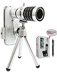XIQI Universal Smart Phone Camera Lens Kit Including One 12x Zoom Aluminum Telephoto Manual Focus Telescopic Camera Lens + One Mini Tripod + One Universal Lens and Phone Holder + One Flannelette Bag Fit for iphones, samsung, htc, nokia and Other Smart pho