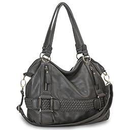 MG Collection Samantha Weave Belt Hobo Handbag, Pewter, One Size