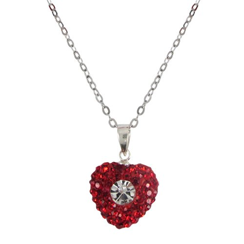 Red and White CZ Heart Sterling Silver Kids Girls Toddler Necklace Pendant