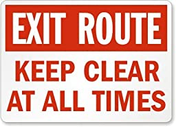 Exit Route Keep Clear At All Times Label, 7\