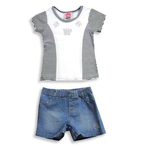 Lipstik - Little Girls' Short Sleeve Jean Short Set, White, Black, Denim Blue 15624-6