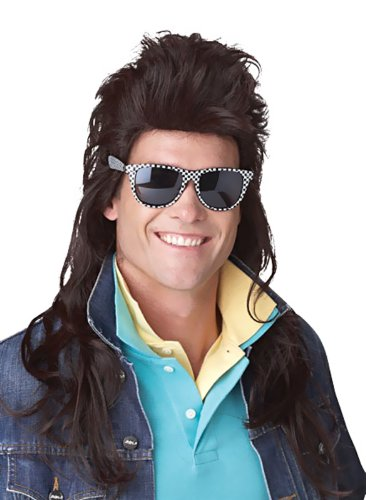 California Costumes 80S Rock Mullet Wig, Brown, One Size