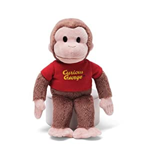 "8"" Gund Curious George Plush Doll Toy - Red Shirt"