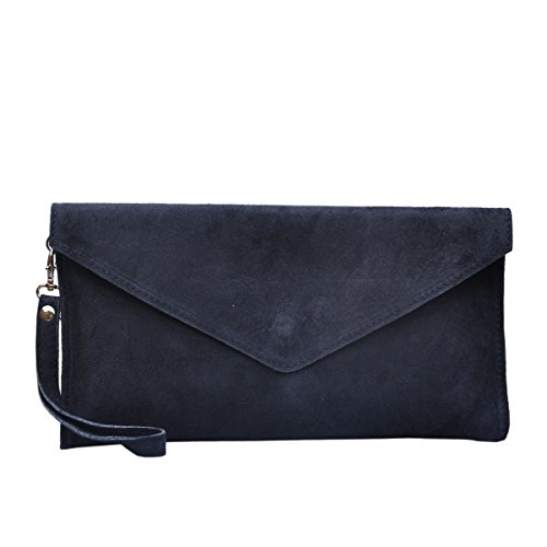 new-womens-genuine-italian-suede-leather-clutch-party-wedding-envelope-bag-navy-blue