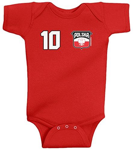 Threadrock Unisex Baby Team Polska Soccer Bodysuit 6M Red front-1041402