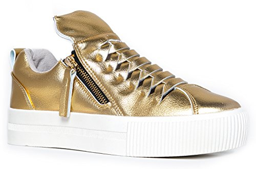 High Top Lace Up Embellished Sneaker - Casual Walking Metallic Star Shoe - Klutch by Cute to the Core