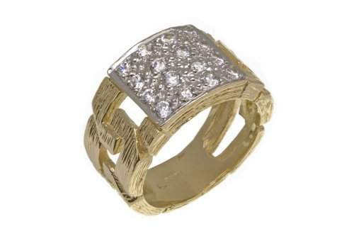 9ct Yellow Gold Men's Stone Set Ring