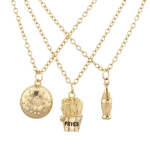 Lux Accessories Gold Tone Burgers Fries Cocoa Cola Best Friends Necklace Set 3PC (French Fry Necklace compare prices)