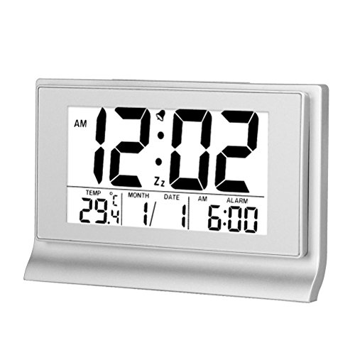 Hense 8Creative Ultra big LCD Screen Intelligent backlight activated Sensor Bedside Digital Snooze Alarm Clock with Date and Temperature Display HA28 (Silver)