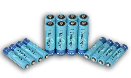 Tenergy High capacity NiMH Rechargeable battery package- 8 AA 2600 mAh and 8 AAA 1000 mAh