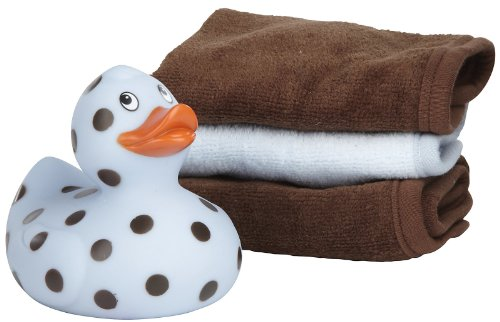 Elegant Baby Blue & Chocolate Duck & Washcloth Set
