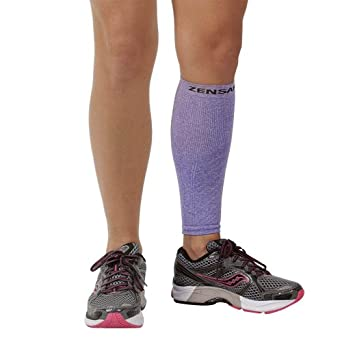 Zensah Calf/Shin Splint Compression Sleeve (singe sleeve), Heather Purple, Large/X-Large