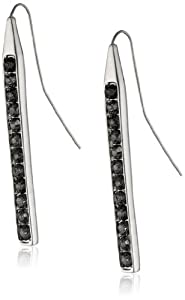 """Kenneth Cole New York """"Geometric Pave"""" Silver-Tone Glass Linear Drop Earrings"""