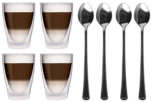 AKTION: 4x 280ml XL doppelwandige Thermogläser + 4x Edelstahl-Löffel 18/10 - Latte Macchiato-Gläser / Cocktailgläser / Eistee-Gläser / Saft- und Wassergläser - 4x 280ml edle Thermogläser mit Schwebeeffekt von Feelino, 4x 280ml