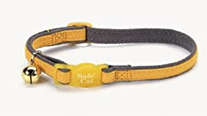 Pet Supplies : Suede Safe Cat Collar, 3/8-Inch Wide, Adjustable 8-12, Grey/Yellow : Pet Safety