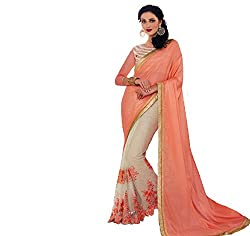 Shubhkari Fashion Pink And Cream Lycra Women's Fancy Saree With Blouse(SF_NAVRATRI_SPECIAL__1011_PINK)
