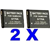 Neewer Two (2x) Samsung BP-70A BP70A Generic Replacement Rechargeable Lithium Ion Batteries for ES65, ES70, PL80, PL100, SL50, SL600, SL630 Digital Cameras
