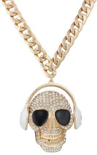 Gold With White Iced Out Large Skull And Head Phones Pendant With 18 Inch Cuban Necklace