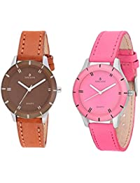 Sheldon Brown, Pink Leather Analog Watch For Women Combo Of 2
