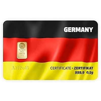 Goldbarren Geschenkkarte 0,5 g 0,5g Gramm Feingold 999.9 Nadir Gold Flagge Deutschland