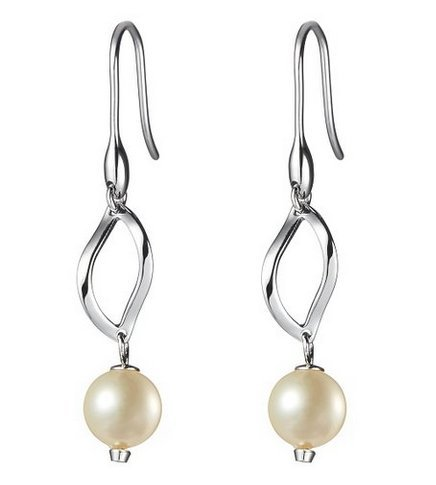 Toshare Fashion White Shell Beads Crystal Earrings Eardrop for Women