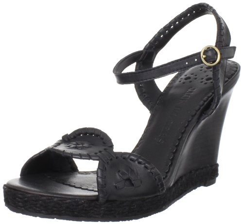 Jack Rogers Women's Clare Rope Wedge Sandal,Black,7 M US