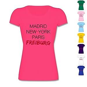 F288K Leicht tailliertes Kinder Mädchen T Shirt Girls Valueweight T mit Rundhalsausschnitt, bewährte Qualität - Städte & Länder Kind - Weltstadt Freiburg
