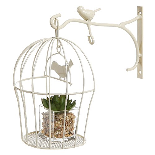 decorative wall mounted hanging bird cage design beige metal display shelf candle plant. Black Bedroom Furniture Sets. Home Design Ideas