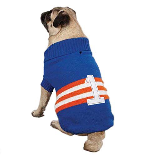 Zack & Zoey Acrylic Collegiate Dog Sweater, Small/Medium, 14-Inch, Blue front-559941