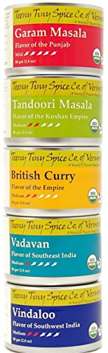 Teeny Tiny Spice Co. of Vermont Organic Indian Spice Blends Variety Pack, Five 2.8 Oz Tins image