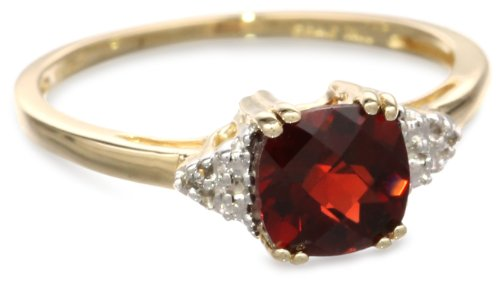 10k Yellow Gold, January BirthStone, Garnet and Diamond Ring