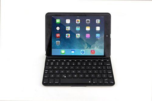 Happy Hours® 7 Color Led Backlighting Ultrathin Abs Alluminium Alloy Bottom Wireless Bluetooth Keyboard Case For Ipad Mini 1 2 Black + Stylus Pen + Screen Protector