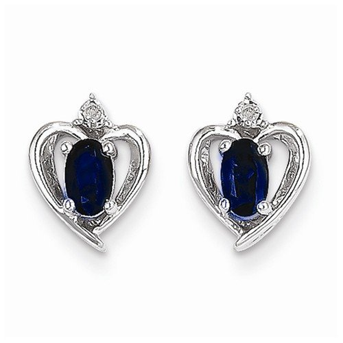 Solid-14k-White-Gold-Genuine-Dark-Blue-Sapphire-Diamond-Earring-01-cttw-17mm-x-10mm